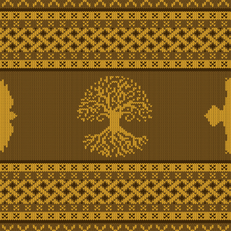 Golden knitted seamless celtic national ornament with World Tree and raven