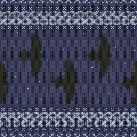 Knitted seamless celtic national ornament with black ravens in the starry sky