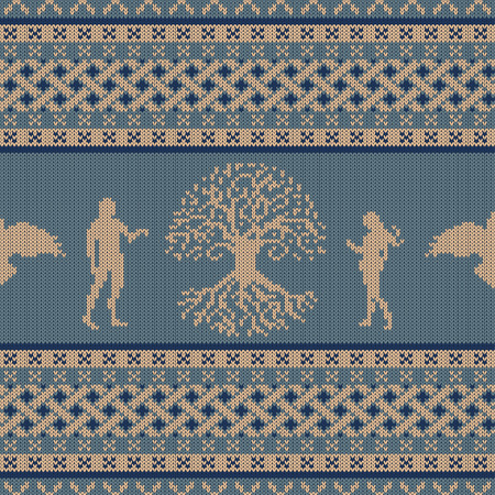 World Tree, first people and flying raven. Knitted seamless celtic national ornament