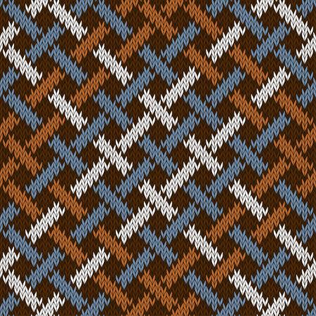 Endless seamless knitted wool Irish-Saxon ornament based on celtic knot Illustration