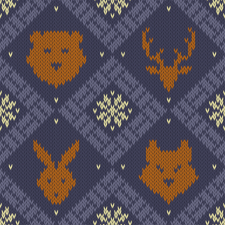 Winter Christmas knitted seamless pattern with wild forest animals