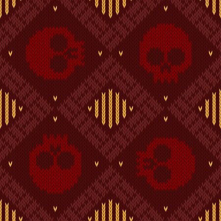Knitted woolen seamless pattern with skulls in red shades to the day of the dead
