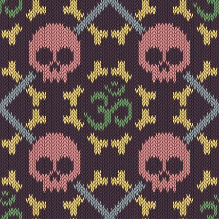 Seamless knitted pattern with sacred Hinduism symbol. Sacred syllable, symbol or mantra Om. Pink skull and bones
