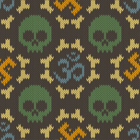 Seamless knitted pattern with sacred Hinduism symbols. Sacred syllable, symbol or mantra Om.  skull and bones