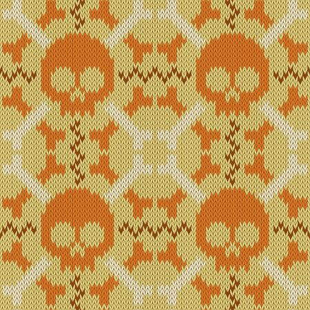 Skull and Bones. Knitted seamless woolen pattern in beige shades