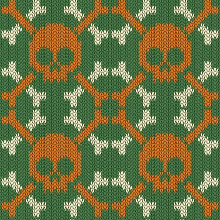 Skull and Bones. Knitted seamless woolen pattern in green shades
