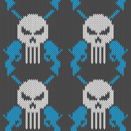 Skull and pistols. Seamless knitted woolen pattern with a skull and two revolvers