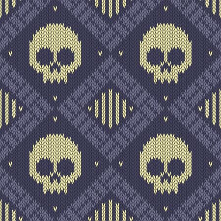 Knitted woolen seamless pattern with skulls in blue tones Çizim