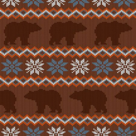 Brown bear and snowflakes. Seamless winter knitted woolen pattern