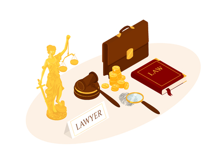 Law and justice isometric vector illustration. Legal law concept.