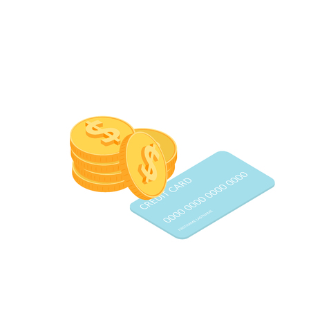 Isometric illustration of gold coins and credit card. Vector money icon