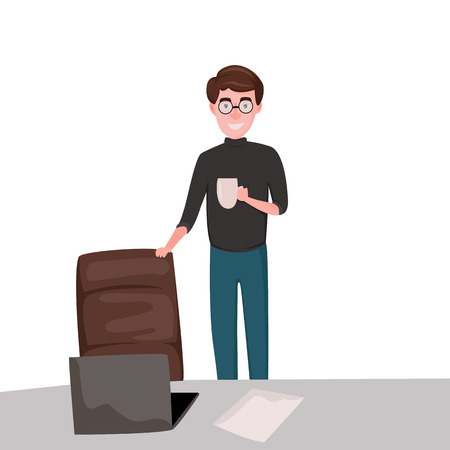 We are hiring. Business man with chair. Vector flat illustration