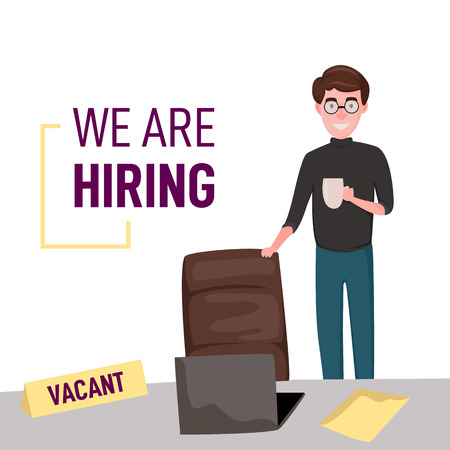 We are hiring. Businessman in the office. Hiring worker. Found job. Vector illustration. Vacant position Ilustrace