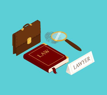 Isometrische Vektorillustration für Recht und Gerechtigkeit. Rechtsrechtliches Konzept.