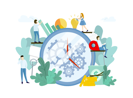 Work process with people, huge clock and gears. Teamwork concept. Vector template for websites