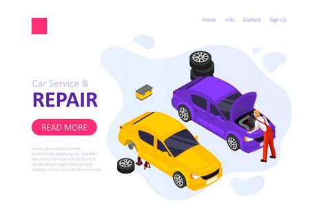 Car service and repair isometric vector template.