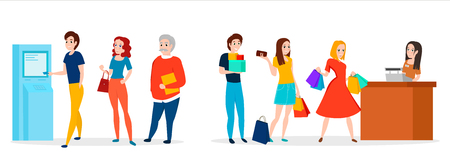 People in queue. Vector illustration