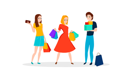 Happy people go shopping. Vector character design