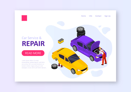 Car service and repair isometric vector illustration.