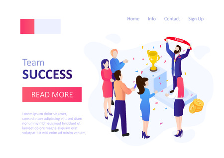 Winner banner. Success concept. Vector isometric template with success people with confetti and trophy cup. Ilustração