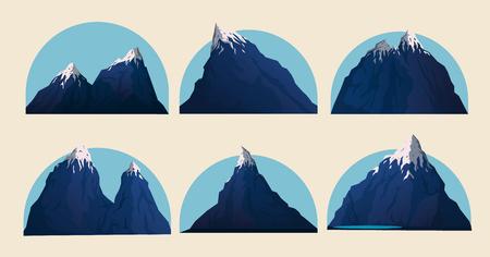 Mountain vector illustration landscape set.