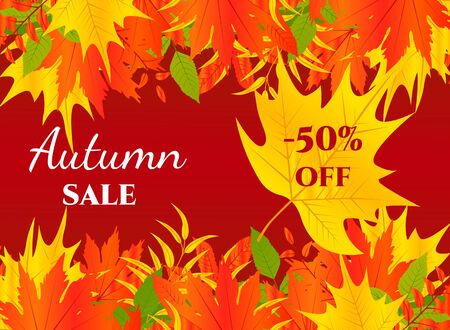 Autumn background. Vector illustration with autumn leaves