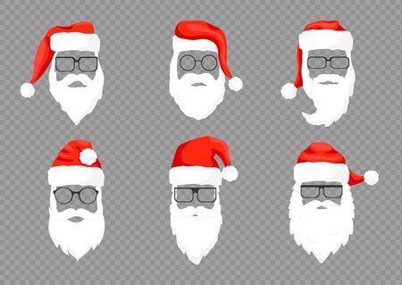 Vector collection Santa Claus hats, moustache, horns, beards and glasses. Christmas festive design. Vector illustration eps 10.