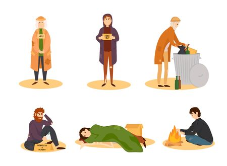 Homeless people collection. Vector illustration. Banco de Imagens - 128489848
