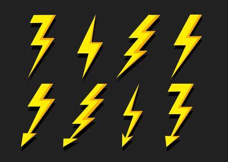 Thunder Bolt Lighting Flash icône isolé sur fond blanc. Icône de tempête. Foudre de vecteur