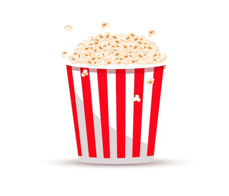 Popcorn bucket. Realistic illustration. Big portion popcorn. Cardboard or paper bucket. Cinema snack or movie food. Popcorn Ilustração Vetorial