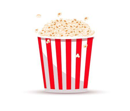 Secchio per popcorn. Illustrazione realistica. Grande porzione di popcorn. Secchio di cartone o di carta. Spuntino al cinema o cibo da film. Popcorn Vettoriali