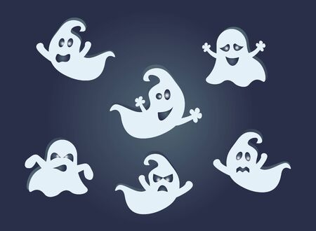 Ghosts set. Vector Halloween concept. Ilustrace