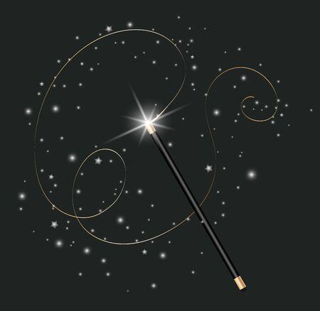 Vector illustration of magic wand. Isolated on black transparent background.Vector Illustration eps 10. Ilustração
