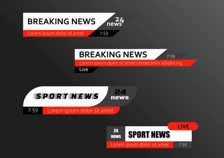 Tv news bars. Breaking news template banner. Vector illustration
