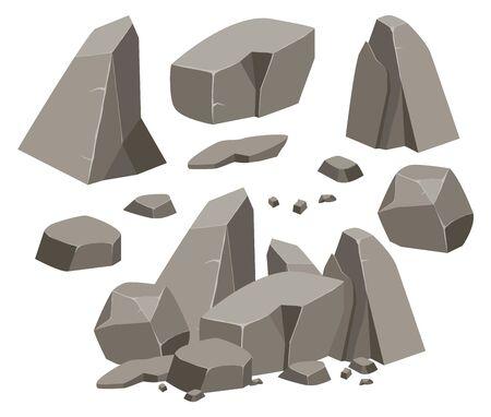 Caricature de grand ensemble de pierre de roche. Pierres et rochers dans un style plat 3d isométrique. Ensemble de rochers différents. Pavés de formes diverses. Illustration vectorielle eps 10. Vecteurs