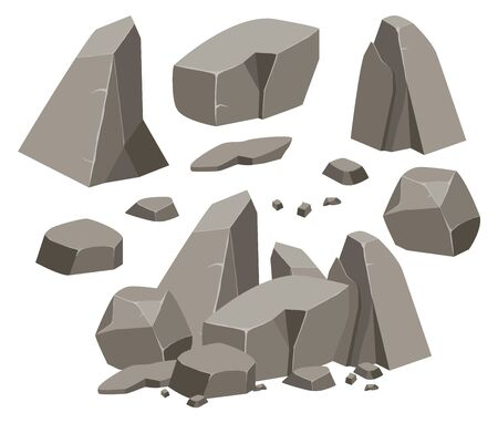 Rock stone big set cartoon. Stones and rocks in isometric 3d flat style. Set of different boulders. Cobblestones of various shapes. Vector Illustration eps 10.