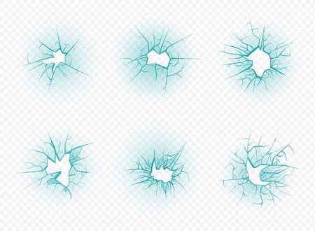 Cracks isolated. Broken glass, vector illustration