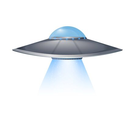 Ufo flying spaceship. Vector illustration eps 10.