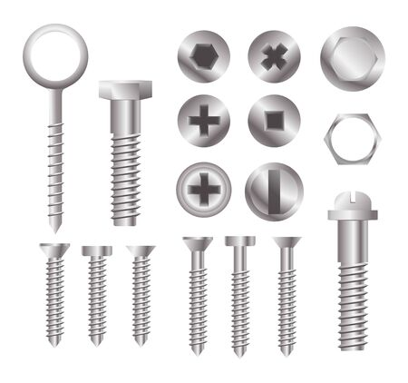 Metal bolt heads. Set of different screw heads types isolated on white background. Industrial top view bolts, screws. Vector illustration eps 10. Ilustracje wektorowe