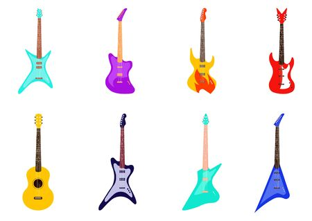 Set of guitars isolated on white background. Vector illustration