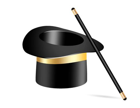 Vector illustration of magic wand. Isolated on black transparent background.Vector Illustration eps 10.  イラスト・ベクター素材