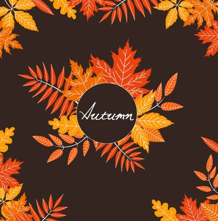 Autumn background with fallen leaves. Vector banner Vectores