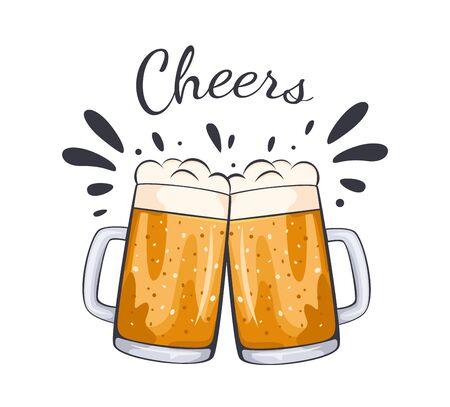 Craft Beer Kalligraphie Design und minimale flache Vektorgrafik verschiedener Biersorten. Bierglas, Krug, Flasche Oktoberfest. Vektorillustration eps 10.