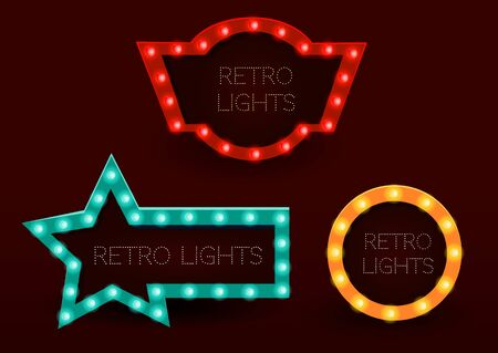 Banner im Vintage-Stil. Rahmen mit leuchtenden Lichtern. Vektorillustration ENV 10. Vektorgrafik
