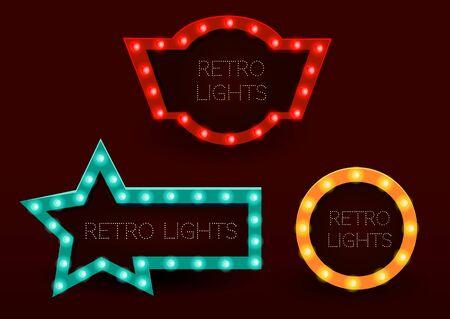 Banners de estilo vintage. Marcos con luces brillantes. Ilustración vectorial eps 10. Ilustración de vector
