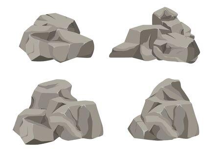 Caricature de grand ensemble de pierre de roche. Pierres et rochers dans un style plat 3d isométrique. Ensemble de rochers différents. Pavés de formes diverses. Illustration vectorielle eps 10.