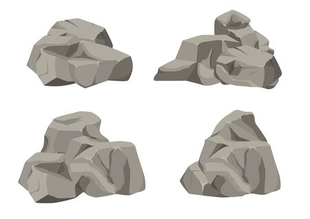 Dibujos animados de gran conjunto de piedra de roca. Piedras y rocas en estilo plano isométrico 3d. Conjunto de diferentes cantos rodados. Adoquines de varias formas. Ilustración vectorial eps 10.