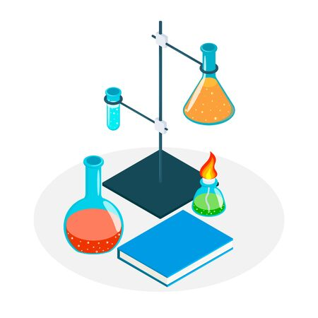 Medical Laboratory. set of laboratory equipment for science experiments vector illustration. Çizim