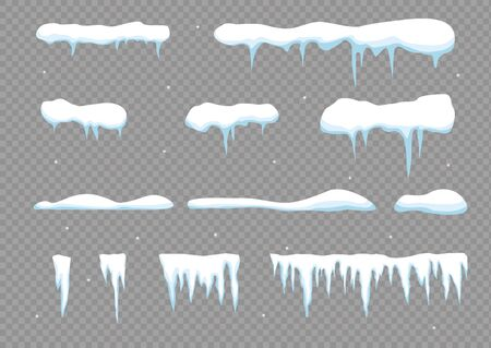 Snow elements. Snowball and snowdrift, icicles and snowcap borders. Vector template in cartoon style. Ilustrace