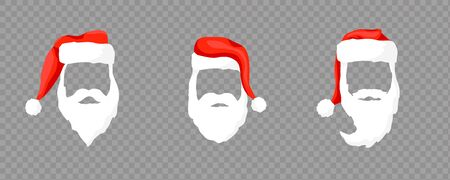 Vector collection Santa Claus hats, mustache, horns, beards and glasses. Christmas festive design.